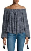 Apiece Apart Glorieta Off-The-Shoulder Top, Navy Cactus Stripe