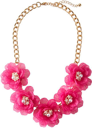 Natasha Accessories Limited 5-Flower Pearly Center Necklace, Fuchsia