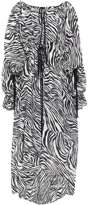 McQ Gathered Zebra-print Silk Crepe De Chine Midi Dress