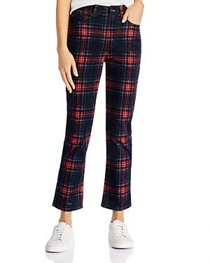 Pam & Gela Plaid Velveteen Straight-Leg Jeans in Multicolor