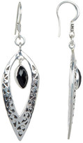 Lois Hill Sterling Silver Faceted Black Onyx & Carved Scroll Detail Drop Earrings