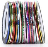 TRIXES 30 Nail Art Sticky Stripes Reels Assorted Colours for Natural and Faux Nails
