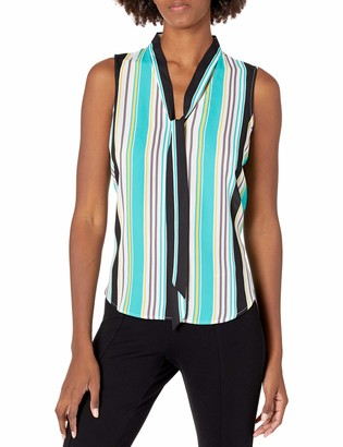 Nine West Women's Printed Crepe Sleeveless Bow Blouse