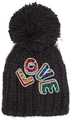 Venna 'Love' embellished slogan pompom knit beanie