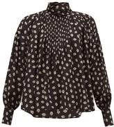 Isabel Marant Candice Floral-print Silk Blouse - Womens - Black Print