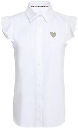 Love Moschino Ruffle-trimmed Appliqued Stretch-cotton Poplin Shirt
