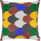 Les Ottomans - Silk Ikat Cushion - 60x60cm - Multicolour Scallop Pattern