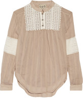 Sea Broderie anglaise-paneled cotton and silk-blend blouse