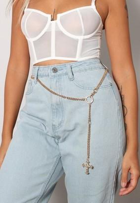 Missguided Look Cross Detail Chain Belt