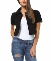 Black Crop Button-Up Jacket