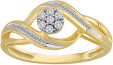 JCPenney FINE JEWELRY diamond blossom 1/5 CT. T.W. Diamond 10K Yellow Gold Cluster Ring