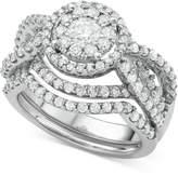 Macy's Diamond Interlocking Halo Bridal Set (2 ct. t.w.) in 14k White Gold
