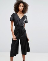 Liquorish Leather Look Wide Leg Culotte Jumpsuit