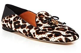 Tory Burch Women's Leopard Print Calf Hair Apron Toe Loafers