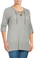 MICHAEL Michael Kors Plus Lace-Up Roll-Sleeve Tunic