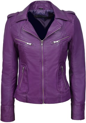 Smart Range 'Rider' 9823 Ladies Biker Motorcycle Style Soft Real Lambskin Napa Leather Jacket (18