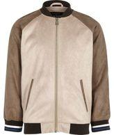 River Island Boys stone suede look raglan bomber jacket