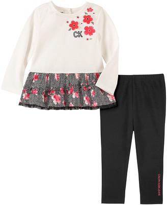 Calvin Klein Jeans Girls' Leggings ASSORTED - Ivory & Red Floral-Trim Tunic & Black Leggings - Infant