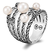 John Hardy Sterling Silver Classic Chain Cultured Freshwater Pearl Multi-Row Ring