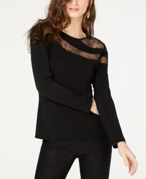 INC International Concepts Inc Long-Sleeve Illusion-Lace Top, Created for Macy's