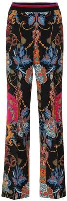 Etro Paisley wool crepe wide-leg pants