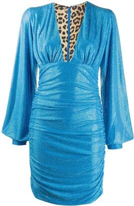 Philipp Plein Embellished Ruched Mini Dress