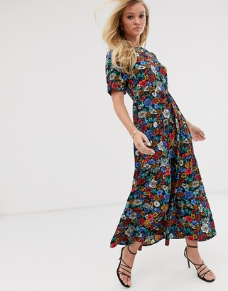 Neon Rose maxi tea dress with balloon sleeves in vintage floral
