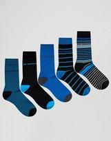 Ben Sherman 5 Pack Sock Gift Box Blue Multi
