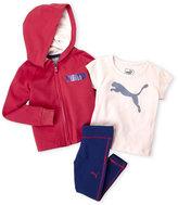 Puma Toddler Girls) 3-Piece Zip-Up Logo Hoodie & Leggings Set