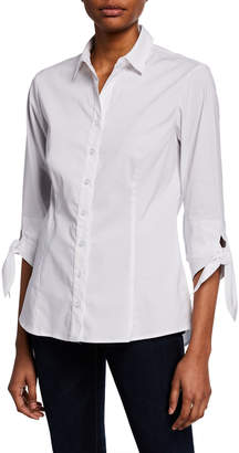 Finley Jackie Tie-Sleeve Button-Front Shirt