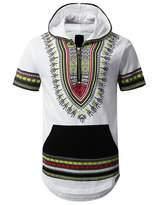 URBANCREWS Mens Hipster Hip Hop Dashiki Half Zip Up Hoodie Shirt WHITE