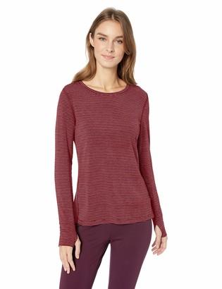 Amazon Essentials Women's Studio Long-Sleeve Lightweight T-Shirt -wild ginger stripe Large