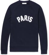 Sandro Terry-appliquéd Loopback Cotton-jersey Sweatshirt - Navy