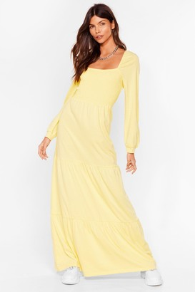 Nasty Gal Womens Square Your Love With Me Relaxed Maxi Dress - Lemon