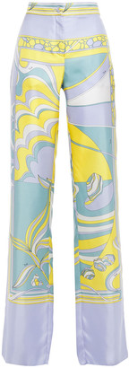 Emilio Pucci Printed Silk-satin Twill Wide-leg Pants