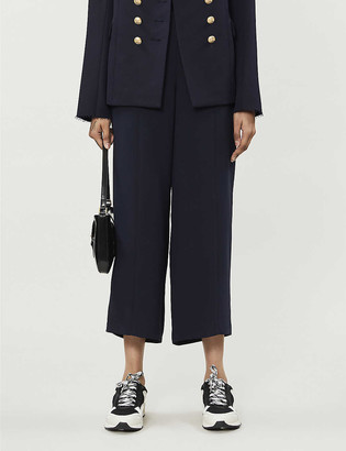 Whistles High-rise cropped crepe trousers