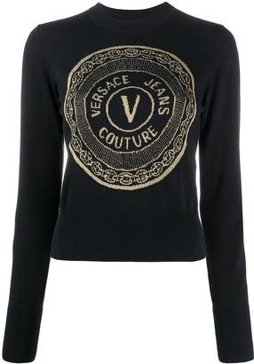 Versace Intarsia Knit Crew Neck Top