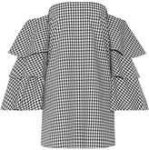 Caroline Constas Carmen Off-the-shoulder Gingham Cotton Mini Dress - Black