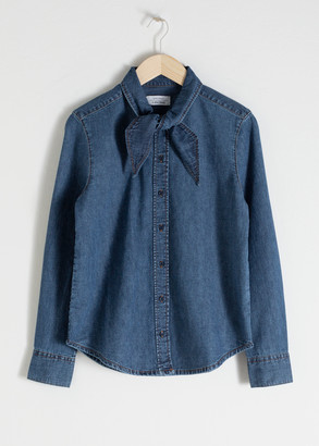 And other stories Organic Cotton Denim Tie Shirt