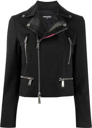 DSQUARED2 Zippered Virgin Wool Blend Biker Jacket