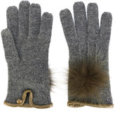 Loro Piana furry pompom knitted gloves - women - Leather/Cashmere - S