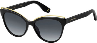 Marc Jacobs Round Acetate Sunglasses w/ Contrast Brow Detail