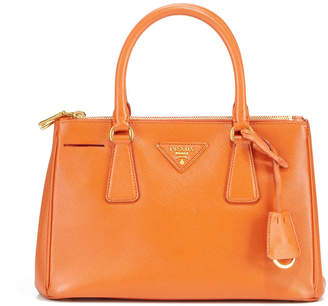 Prada Preowned Saffiano Executive Leather Dual Zip Small Tote Bag