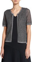 Joan Vass Metallic Mesh Short-Sleeve Open-Front Cardigan