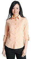 As Is Liz Claiborne New York Long Sleeve Roll-Tab Chambray Shirt