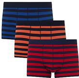 John Lewis Rugby Stripe Trunks, Pack of 3, Blue/Orange/Red