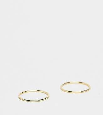 Kingsley Ryan Exclusive sterling silver gold plated 2 pack band rings