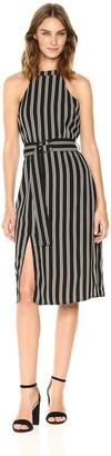 Moon River Women's Sleeveless Belted Midi Stripe Dress Black/Multi Medium