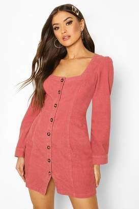 boohoo Square Neck Cord Dress