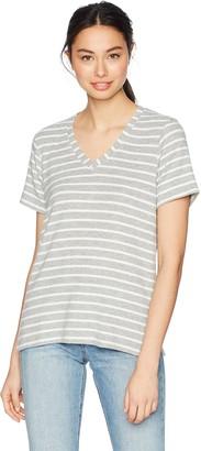 Michael Stars Women's Madison Brushed Stripe Short Sleeve v-Neck with Side Slits